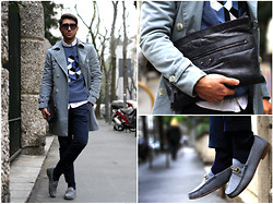 Filippo Fiora - Gucci Loafers, Royal Hem Trench Coat, Pantone Sweater, Roda Pants, Trussardi Sunnies, Balenciaga Briefcase - NOUANCES ON NOUANCES