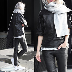 Joyce Croonen - Vintage Top, All Saints Trousers, Nike Sneakers, Costes Shirt, Balenciaga Scarf - All leather