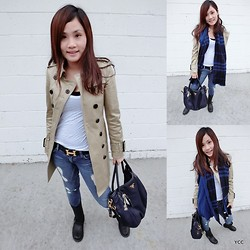 Yvonne Chen - Burberry Trench Coat, Burberry Scarf, The Frye Company Boots, Hermës Belt, Armani Exchange Jeans - CasualXTrenchXLook