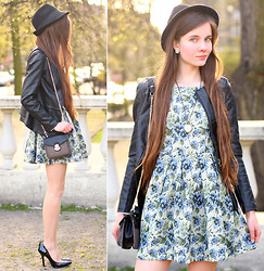 Ariadna M. - Romwe Black Leather Peplum Jacket, Chic Wish Blue Floral Retro Dress, Choies Tweed Small Bag With Chain, Frontrowshop Black Pumps, Mohito Black Hat, L.O.L.A Watch Necklace - Springtime