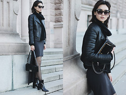 Miu N - Rodebjer Knit, Mango Jacket, Chanel Bag, Weekday Dress, Zara Boots, Cubus Sunglasses - All Black Friday