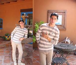 Luke Richard - American Eagle Striped Sweater, American Eagle Feather Bracelet, American Eagle Aviators - Neutrals