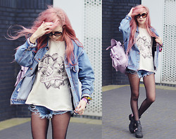 Amy Valentine - Zerouv Round Sunglasses, Levi's® Vintage Denim Jacket, The Orphan's Arms Little Miss I Don't Care About You Tee, Sheinside Distressed Denim Shorts, Grafea Lilac Rucksack, Jeffrey Campbell Spiked Coltrane Boots - LITTLE MISS I DON'T CARE ABOUT YOU