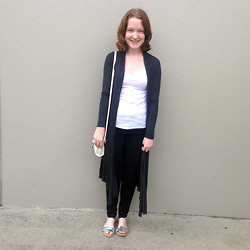 Lauren V - Valley Girl Knit, Glassons Top, Citizens Of Humanity Jeans, Soul Therapy Sandals, Topshop Handbag - Maxi Cardi