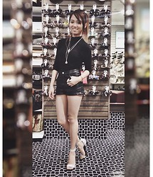 Hana Castillo - Love Culture Black Crop Top, H&M High Waisted Leather Shorts, Forever 21 Accessories, Call It Spring Holographic Strappy Heels - Leather Shorts, Holographic Shoes
