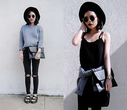 Visa Lom - Oasap Vintage Geo Sweater, Sheinside Black Spaghetti Strap Double Layer Chiffon Vest - Basic(s)