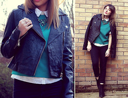 Tasha Hinde - Barneys Leather Biker Jacket, Topshop Teal T Shirt, Lola & Grace Statement Necklace, Primark White Shirt, Primark Black Jeans, Vagabond Boots - The Biker