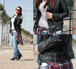 Kleoniki Tz. - Romwe Leather Jacket, Persun Plaid Shirt - It's a bad girl thing