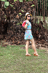 Antoinette Irene - Ray Ban Sunglasses, Floral Romper, Charles And Keith Brown Wedges, Salmon Satchel, Daiso Panama Straw Hat, Skull Arm Candy - Into the Woods