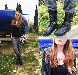 Iliana Karavida - Zara Leather Jacket, H&M Sweatpants, Spot On Army Boots, H&M Jewelry, H&M Bag - These Boots are Made for Walkin'