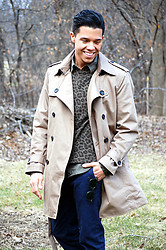 Matthew Woppel - Coach Coat, All Saints Sweater, Converse Shirt, American Eagle Pants - Cheetah x Trench