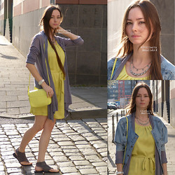 ☽Emī Silberīn Mānelieht☾ - Silberin Manelieht Hand Sewn Jacket, H&M Cardigan, H&M Yellow Silk Dress, Kohl's Suede Leather Sandals, String Of Blue Lotus Petal Silver Necklace - ✛ Early spring -yellow silk dress, hand sewn jacket