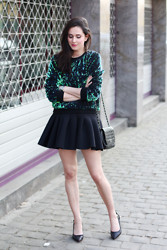 Annebeth B - Sheinside Sequined Sweater, H&M Neoprene Skater Skirt - Dragon Sweater