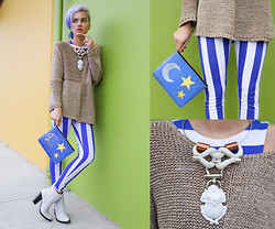 Alanna Durkovich - Poppy Lissiman Starry Night Clutch, Woudenberg Jewelry Scarab Beetle Choker, Amiclubwear Striped Jumper - Killer Statement Pieces