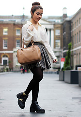 María Antonella Vivas - Forever 21 Shirt, Tiempo Patterned Skirt, Kenneth Cole Bag, River Island Ankle Boots, Dopodomani Earrings - London Fashion Week Day Three