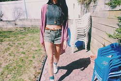 Isabelle N - Pacsun Turtleneck Tank, Forever 21 High Wasted Shorts, Nordstrom Cardigan, Pacsun Boots - Spring fling