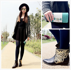 Julius Zhu - Forever 21 Boots, Guess? Purse, Forever 21 Sweater, H&M Hat - I can feel the spring coming!