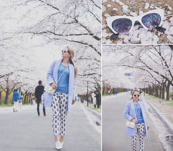Olga Choi - Zerouv Sunglasses, Wool Overs Sweater, Martofchina Bag, Choies Coat, Sheinside Pants - I am so blue
