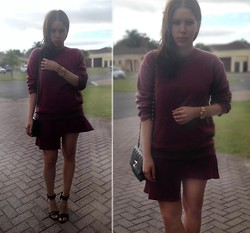 Tneale Williams - Woolworths Burgundy Sweater Jersey, Burgundy Asymmetrical Skirt, Chanel Handbag, Mr Price Ankle Strapped Sandals - Love your Curves and all your Edges.
