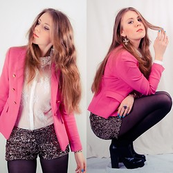 Claudia J. - Zara Neon Pink Blazer, Zara Cequin Shorts, Shoecult Leather Boots, Miss Selfridge Lace Shirt - Carnival
