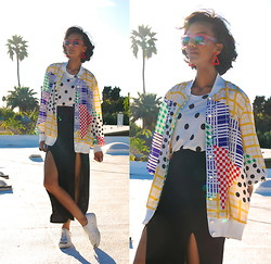 Luna Nova - Vintage Triangle Earrings, Vintage Mix Print Shirt Jacket, Thrifted Double Slits Skirt, Thrifted Platform Sneakers - Kangaroo Court