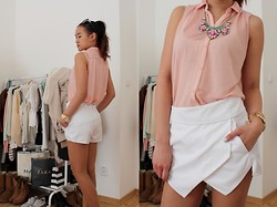 Janiie Pham - H&M Sheer Pink Blouse, Skort, H&M Statement Necklace - I PINK OF YOU