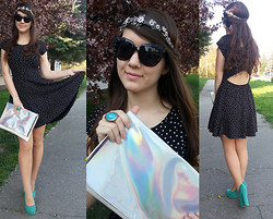 "Patricia C. - Zara Headband, Stradivarius Holographic Clutch, Zara Dress, H&M Sunglasses - ""New Crown"" by Wolfmother"