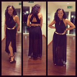 Khanyi L Ndlovu - River Island High Kneck Cut Out Maxi Dress, Asos Hoax Heeled Sandals - Evening Edition