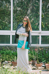 ANNA T. - Fashion Mark Dress, Oh La Clutch, Pull & Bear Leather Jacket - The Secret Garden