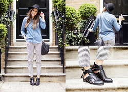 Kim @lovecloth - Topshop Gingham Trousers, Topshop Denim Shirt, Mulberry Effie Bag, Missguided Ankle Boots - TAKE A WALK