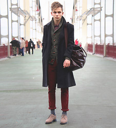 Daniil Shamatrin - Follow My Eyes Coat, Follow My Eyes Cardigan, Follow My Eyes Trousers, Follow My Eyes Shoes - B R I D G E