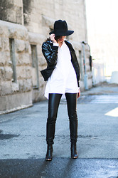Gabrielle Lacasse - H&M Leather Leggings, Boohoo Booties, 424 Fifth Shiny Leather Jacket, 424 Fifth White Shirt - Leather for Spring