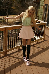 Lyssa P. - Max Studio Mint Green Tank Top, American Apparel Pink Circle Skirt, American Apparel Black Knee High Socks, Juju Shoes Babe Pale Pink Jelly Sandals, American Apparel Mint Bow - Pastel Peppermint