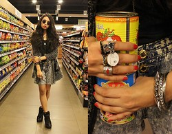 Tasia W. - Black, Flea Market Grey, Gosh Lace Up Sneakers, Ray Ban Teashade - Talk Softly to Me