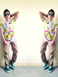 Jobert Yayain - Culture Tee, Levi's® Levis, Vans Green, Ray Ban Mirrored Sunnies - ComicTee