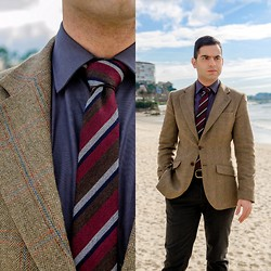 Mvesblog MEN - Zara Tie, Zara Shirt, Silbon Jacket, Zara Pants, Massimo Dutti Belt - Classic on the beach