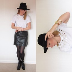 Emily L - Christopher Kane Mirror Tee, Oasis Leather Skirt, Topshop Arabel2 Boots`, River Island Hat, Michael Kors Watch - Think About It