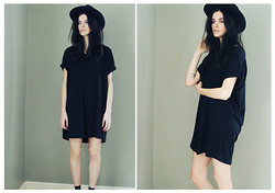 C Parker - Primark Dress, Boohoo Fedora - Black Dress