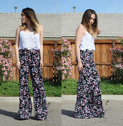 Esmirna Tapia - Pacsun Lace Top, Pacsun Kendall & Kylie Floral Pants - DREAMING IN FLORALS
