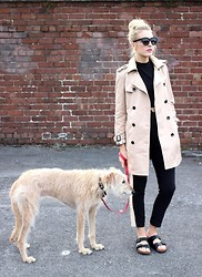 Charlotte Lewis - Chic Wish Beige Trench Coat, Birkenstock Arizona, Missguided Tailored Trousers, Zerouv Cat Eye Sunglasses - Burberry Inspired Classic Beige Trench