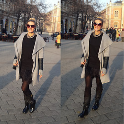 Alexandra Borozan - Marc By Jacobs Sunglass, Zara Coat, Michael Kors Dress, Dolce & Gabbana Boots - Chic Dress