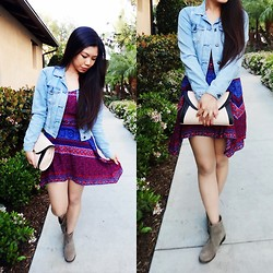 Josephine Ellen - Forever 21 Denim Jacket, Forever 21 Dress, Mia Booties, New Look Bag - The Tribal Touch