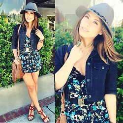 Juting T - Olive & Pique Feather Fedora, Theory Black Denim Cropped Jacket, Cope Floral Romper, Marciano Black Gold Belt, Matt Bernson Wedges, Zara Fringe Bag, Bellomina Angel Wing Necklace, Urban Outfitters Ring - In Love with Spring