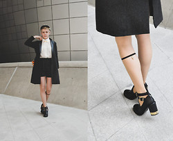 Alex T - Antiqulothes Jacket And Shorts Combo, Snake Charm, Topshop Gold Heeled Booties - School-boy charm