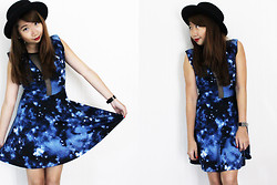 Ems H - Nasty Gal Blue Galaxy Dress, Forever 21 Hat, Marc By Jacobs Watch - You Who Came From The Stars