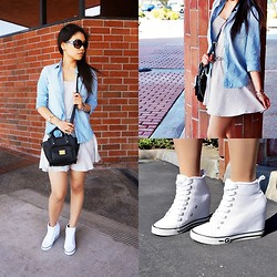 Josephine Ellen - American Eagle Chambray Shirt, Forever 21 Dress, Guess? Wedge Sneakers, 3.1 Phillip Lim Bag, Michael Kors Sunglasses - Baby Blue