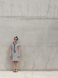 Katrina M. - Vintage Striped Dress, New Look Clogs - Marfa
