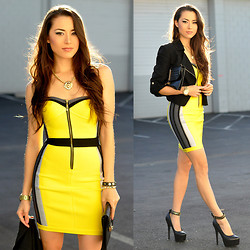 Jessica R. - Flaunt Shop Yellow Rhinestone Dress, Bebe Black Crop Jacket, Steve Madden Platform Heels, Pacsun Lion Necklace - Glow