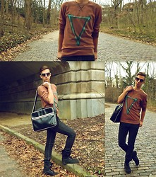 Jordan Pordash - Fred Perry Classic Shoulder Bag, Amazon Angel Winged Combat Boots, Levi's® Black Wash Levi's 510 Super Skinny Jeans, Diy Geometric Crewneck Sweatshirt, Forever 21 Retro Round Sunglasses - Young Blood