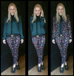 Gabriella B - Zara Colour Block Shirt, Baroque Clasp Belt, Topshop Floral Tapestry Suit, Clarks Patent Leather Shoe Boots - Off the wall
